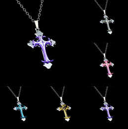 Wholesale Chain Drop Necklace - Brand new Christian Plating Drops Cross Pendant Necklace Short section WFN020 (with chain) mix order 20 pieces a lot