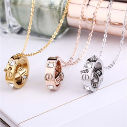 Wholesale Womens Stainless Steel Chain Necklace - Trendy Stainless Steel Womens Necklace Pendant Women Crystal Gold Rose Gold Silver Colors Carter Love Brand Jewelry Necklaces
