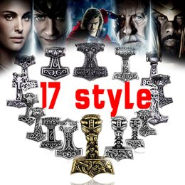 Wholesale Odin Pendant - Wholesale- free shipping Sect Silver Plated Thor Hammer Knot Pendant Necklace Viking Norse Odin Jewelry For wholesale Men Christmas gifts