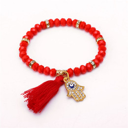 Wholesale Evil Eye Hand Charm - Wholesale-Fashion Evil Eye Tassel Red Bracelets For Women Men gold Hand Bracelet Femme With Stones Turkish JewelryB-B10116