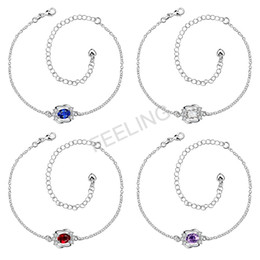 Wholesale Romantic Gifts Lovers - 2017 hot sale Fashion adjustable anklets with color stone & cz , Friend Gift first choice, free shipping