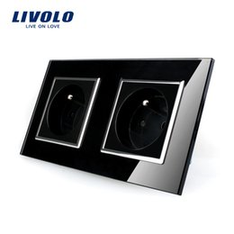 Wholesale Glass Sockets - LIVOLO 16A French Standard, Wall Electric   Power Double Socket   Plug, Crystal Glass Panel,VL-C7C2FR-12