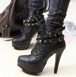 Wholesale Lace Up Punk High Platform - Wholesale-Motorcycle Lace Up Ankle Leather Boots high heels Black Punk Rivets Women Platform Shoes for New 2016 Autumn Vintage brand new