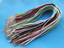 Wholesale Wholesale Suede Necklaces - 3X420mm Mixed Colors Korea Faux Suede Leather Necklace Cord String Rope,1.8inch Extender Chain,12x7mm Lobster Clasp,DIY Accessory