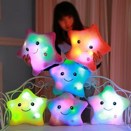 Wholesale Luminous Pillow Teddy - 2017 New Colorful Flashing Star Plush Toys Sleep Luminous Led Light Cushion Pillow Plush Star Doll Birthday Gifts For Kids