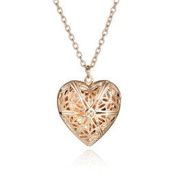 Wholesale Hollow Box Lockets - New Arrival 2 Colors Love Heart Hollow Flower Pendant Photo Box Necklace High Quality Jewelry Gift
