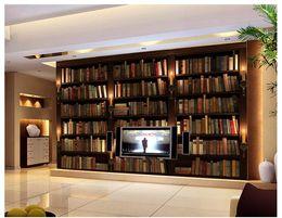 estantería de libros Rebajas Al por mayor-Personalizado 3d fondo de pantalla 3d murales de pared papel tapiz 3 d estantería estantería ajuste murales de pared libros papel de pared