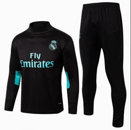 Wholesale football collar - 17 18 real soccer training suits Uniforms High collar black shirts football tracksuits Survetement long sleeve real madrid set kits