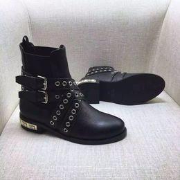 Wholesale Red Diamond Boots - Wholesale-2016 Women's Round Toe Black Top Grain Genuine Leather Revit Black Heels With Diamonds Ankle Boots size35-40