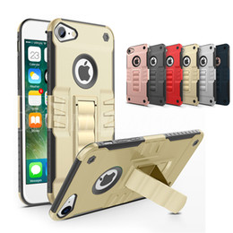 Wholesale Silver Armbands - Phantom King TPU+PC Hybrid Case Armband Stand Holder Cover Armor Cases Kickstand For iPhone 7 6 Plus Samsung Note S8 A7 A5 2017
