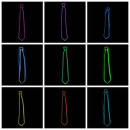 Wholesale Tie Up Toys - Light 10 Color EL Tie Light Up LED neckties glowing For Party Decoration DJ bar club cosplay Show free shipping