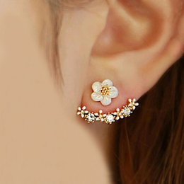 Wholesale Hanging Stud - 2016 Korean Fashion Imitation Pearl Earrings Small Daisy Flowers Hanging After Senior Female Jewelry Wholesale