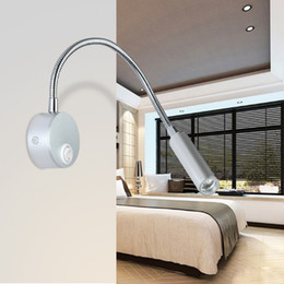 Wholesale Painted Wall Red - New arrive Silver Flexible Hose LED Wall Lamp 3W Arm LED Lights Bedside Reading Light Study Painting warm white white red blue green