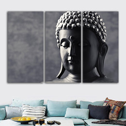 Wholesale modern buddha oil painting - Modern Home Wall Art Decoration Framework Modular Pictures 3 Pieces Buddha Statue HD Printed Painting On Canvas For Living Room