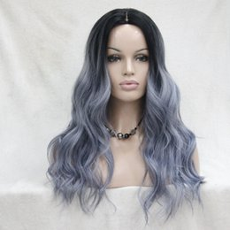 Wholesale Wig Gray Long - Do Not Cut Lace Front! Hivision Quality Heat Ok Synthetic Black To iron-gray Ombre Long Wavy Wigs