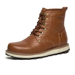Wholesale Tooling Boots Fashion - Men Comfortable Martin Boots Waterproof Tooling Boot Soft Leather Man Shoe Fashion High Quality Men Casual Boots Lace Up Abrasion Resistant