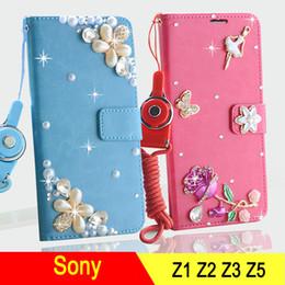Wholesale Diamond Xperia - Luxury crystal rhinestone Diamond DIY crown flower butterfly Wallet style bling phone case for Sony xperia Z1 Z2 Z3 Z5