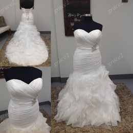 Wholesale Sweetheart Neckline Trumpet Wedding Dress - Plus Size Mermaid Wedding Dresses 2017 with Lace Up Back and Sweetheart Neckline Real Photos Ruffles Skirt African vestido de noiva