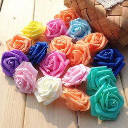 Wholesale Artificial Foam Roses - Dia 7.5cm foam rose artificial flower head fake flower for home decoration Wedding and banquet 10 colors available free shipping