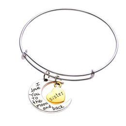 2019 mondcharme armband Fashion Family Bracelets Ich liebe dich zum Mond und zurück Charm Bangle Vintage Alloy Anhänger Weihnachtsgeschenk Pulseras günstig mondcharme armband