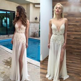 Wholesale Design Beach Wedding Dress - Simple Design Spaghetti Boho Beach Wedding Dresses 2017 Lace Appliques High Split Chiffon Bridal Gowns Floor Length V Neck Cheap Vestidos