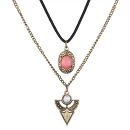 Wholesale Multi Layer Resin Beads - 2017 Resin Leather Rope Necklace Pendants Vintage Ethnic Multi-Layer White Bead Crystal Triangle Statement Necklace Women Jewelry Wholesale