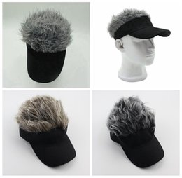 Wholesale Caps Fake Hair - Hair Visor Hat Golf Wig Cap Fake Adjustable Gift Novelty Party Custome Funny Hat 10 pcs YYA463