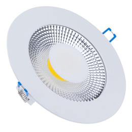 Wholesale Energy Glasses - Wholesale- Energy Saving 15W 10W 5W Round COB LED Downlight Recessed COB Ceiling Panel Light Glass Scrub COB LED Fixture+85-265V LED Driver