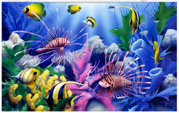 Wholesale fish paper roll - High end Custom 3d photo wallpaper murals wall paper Submarine tropical fish 3d living room wallpaper background wall home decor