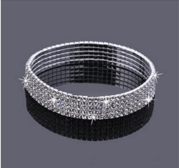 Wholesale Round Row - 5-Row Five Rows Sparkly Rhinestone Anklet Crystal Stretch Cz Ankle Bracelet Sexy Anklet Wholesale Bridal Wedding Accessories for Women