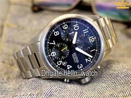 Wholesale Mens Crown Watch - Super Clone Luxury Brand Big Crown ProPilot 01 774 7699 4063-07 8 22 19 Black Dial Quartz Chronograph Mens Watch Stainless Steel Band Watch