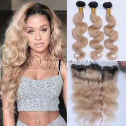 Wholesale Ombre Virgin Hair Extensions - Ombre 1B 27 Dark Roots Brazilian Virgin Human Hair Extension Body Wave 3 Bundles With Ear to Ear Lace Frontal Closure Honey Blonde