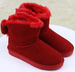 Wholesale Light Purple High Heel Shoes - wholesale! New hot sale Fashion Australia classic tall winter boots real leather Bowknot women's snow boots shoes with gift Free shippin