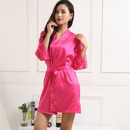 Wholesale Comfortable Sexy Sleepwear - Wholesale- 2017 New Arrival Fashion Silk Women's Nightwear Bath Robes Sexy Lace Sleepwear High Quality Comfortable Leisure Robes 9 Colors