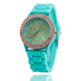 Wholesale Geneva Popular Watch Silicone Quartz - Fashion Geneva Watches Crystal Diamond Jelly Rubber Silicone Band Watch Unisex Quartz Candy Sports Watches Wristwatch Popular
