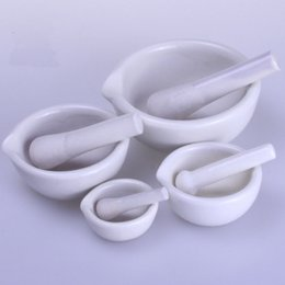 Wholesale White Porcelain Bowls - 6ml White High-Strength Porcelain Pound Bottles Of Medicine Mortar and Pestle Bowl Garlic Grinder Kitchen Mills ZA3441