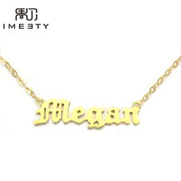 Wholesale Gold Name Plates - Wholesale- IMEETY personalized nameplate necklace gold plated name tags necklace my necklace custom old english nameplate necklaces gifts