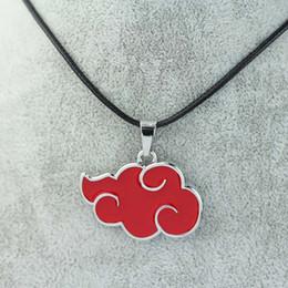 Wholesale Akatsuki Pendant - Wholesale-Japan Anime Cosplay Naruto Akatsuki organization red cloud sign metal pendant necklace Can Drop shipping