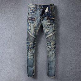 Wholesale Vintage Style Bikes - High Street Ripped Skinny Jeans For Men Vintage Distressed Fashion Slim Pencil Pants Rock Revival * Brand Bike Jeans For Men Plus Size 28-42