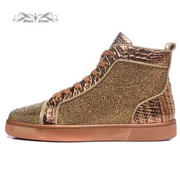 Wholesale Bronze Applique - MBSn999Ze Size 35-47 Men Women Bronze Snake Leather With Gold Rhinestone High Top Red Bottom Fashion Sneakers, Unisex Plus Size Casual Shoes