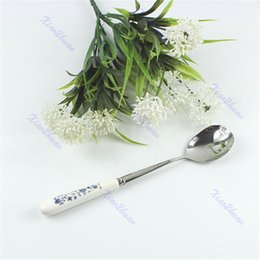 Wholesale Ceramic Flatware - Wholesale- Large Ceramic Handle Anti-hot Stainless Steel Spoon Soup Tableware Flatware-P101