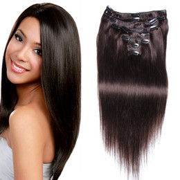 Wholesale Clip Bang Brazilian Hair - 8A Black Brown Blonde Multi color Human Hair Clip In Extensions African American Virgin Crochet Hair Extensions Clip In Bangs 100G PACKaging