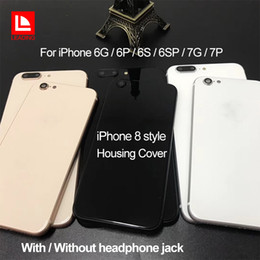 Wholesale Barred Iphone - For iPhone 6 6P 6S 6SP 7 7P Plus Back Housing Cover Like iPhone 8 Style Metal Glass Back Cover Replacement with Buttons