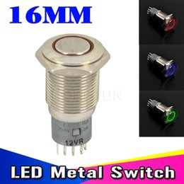 Wholesale Push Switch 12v - New Waterproof metal switch for LED light IP67 12V DC 6A 125VAC 16mm LED Power Push Button Indicating Lamp Resetable Angel Eye