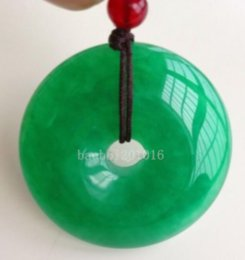 Wholesale Chinese Jade Necklaces - Chinese Natural Green Jade Hand-carved Harmony Lucky Pendant + Rope Necklace0772