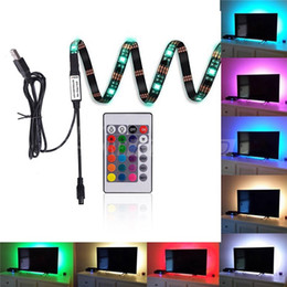 Wholesale Tv Remote Screen - Four Strips 5050 USB LED Strips Backlight RGB Lights with Remote Control for HDTV Flat Screen TV Accessories and Desktop PC Multi Color