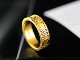Wholesale Famous Wedding Bands - Top Classic Design Famous Brand 6mm 18K gold plated lovers wedding band love ring for Women Men Valentine's Day present