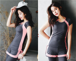 Wholesale Sport Clothes Lady - High quality Women's Fitness clothes sets Pro Sportswear GYM running Fitness ladies sports clothes high elastic T-shirts Quick-drying pants