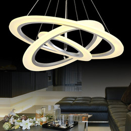 Wholesale Wholesale 25 Silver Rings - Modern Luxury 3 Rings Pendant Light LED Circle Chandelier Lights for Living Room Bedroom Chandelier Lighting White Acrylic Pendant Lamp