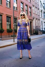 2019 vestido sem mangas com bainha assimétrica e pescoço 2019 manga curta nova chegada marca estilo lace crochet dress mulheres vestidos longo maxi tornozelo-comprimento dress moda pista azul